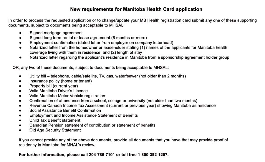 Health Card application list of supporting docs