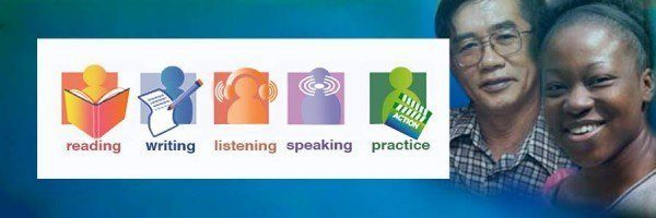 Icons representing reading, writing, listening, speaking, and practice