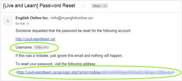 Screenshot of Password reset email with username and reset link highlighted