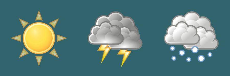 Weather icons: sunny, thundershowers, snow