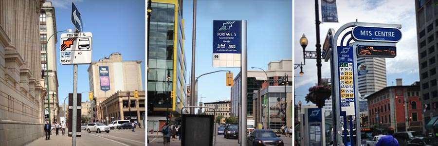 Image of three different Winnipeg bus stop signs