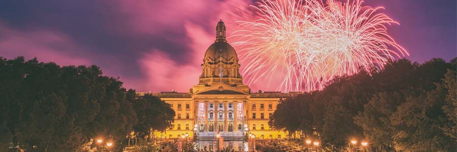 fireworks in the sky on Canada Day