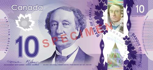 Canadian ten dollar bill, front