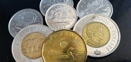 Canadian coins: toonie, loonie, quarter, nickel