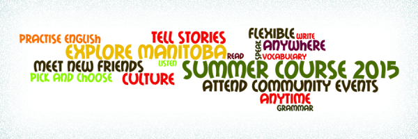 Word cloud: Tell stories, practice English, meet new friends