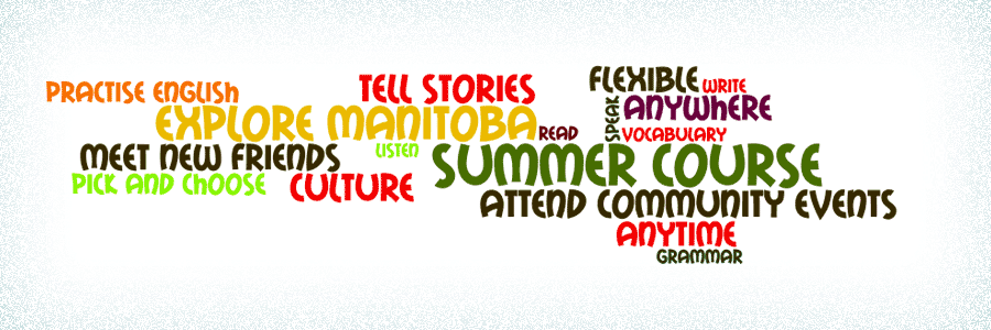 A word cloud relating to summer and community learning.
