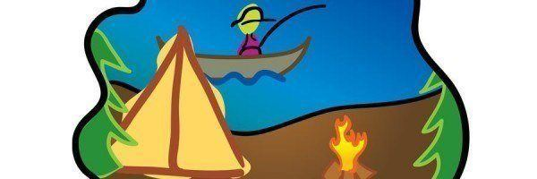 Illustration of person fishing on a lake with tent and campfire on shore.