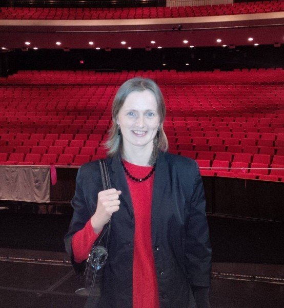 Ira at the stage after watching a ballet at the Centennial Concert Hall, Winnipeg.