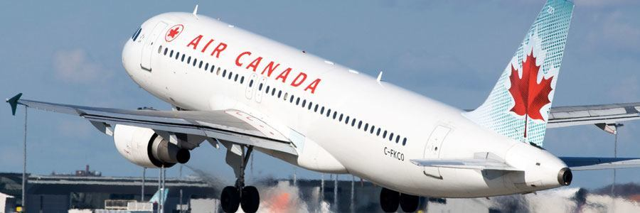 An Air Canada plane taking off