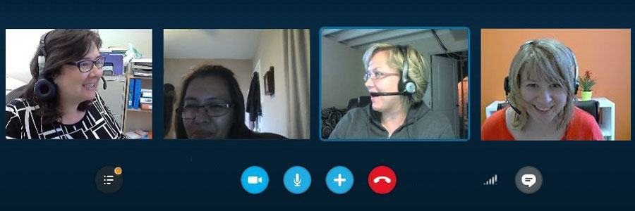 Screenshot of 4 people in an online video conference.