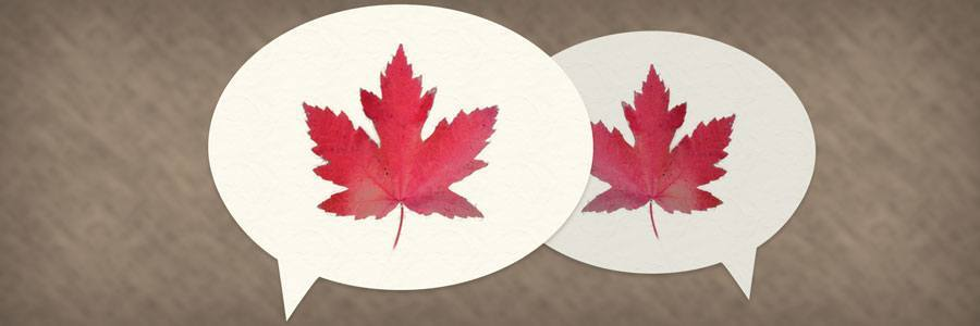 2 chat bubbles with maple leaves in them