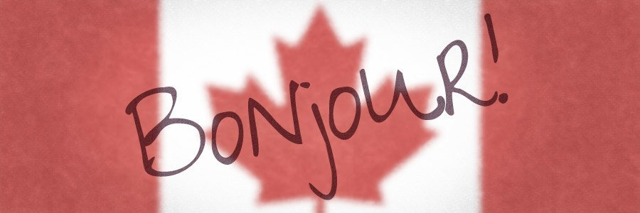 The word Bonjour with the Canada Flag in the background