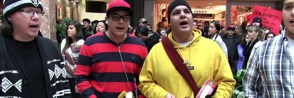 Idle No More flash mob drummers and singers in Masonville Place, London, Ontario