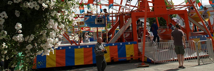 Rides on the Midway at the Corn and Apple Festival in Morden, Manitoba.