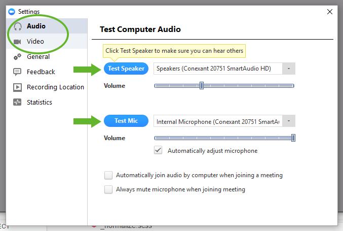 Screenshot of Zoom Settings window