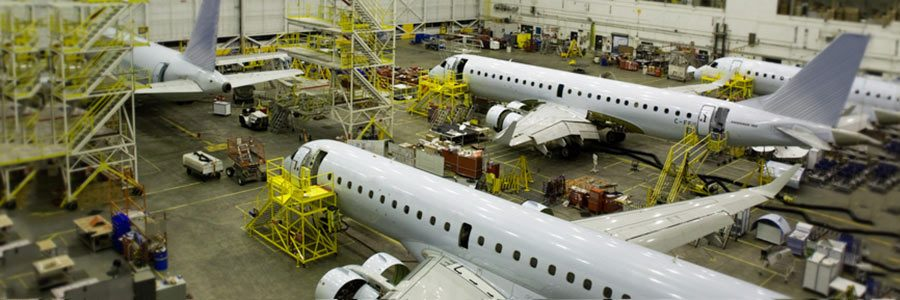 Photo of planes in the Aveos hangar in Winnipeg, Manitoba.