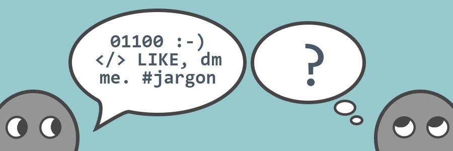 Cartoon of people speaking computer jargon.