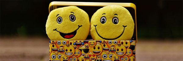 Two plush emoticons in a lunchbox covered in emoticon images.