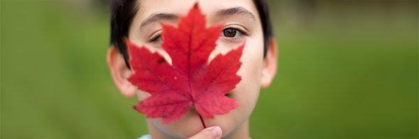 A Canadian boy holding a maple leaf in front of his face.
