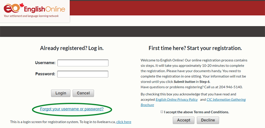 Screenshot of where to find the Forgot Password link on the English Online registration system.