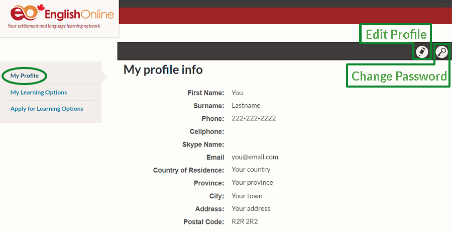 Screenshot of profile page with Change password and Edit profile buttons.