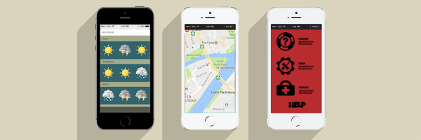 Three smart phones with useful apps - weather, traffic and first aid.