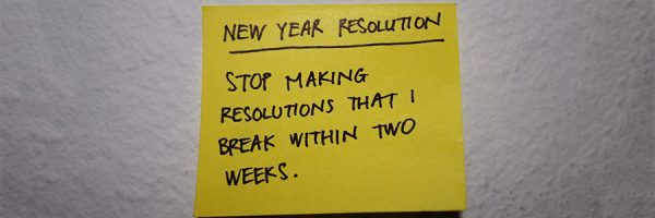 "A post-it note on a fridge that says ""New Year Resolution: Stop making resolutions that I break within two weeks""."