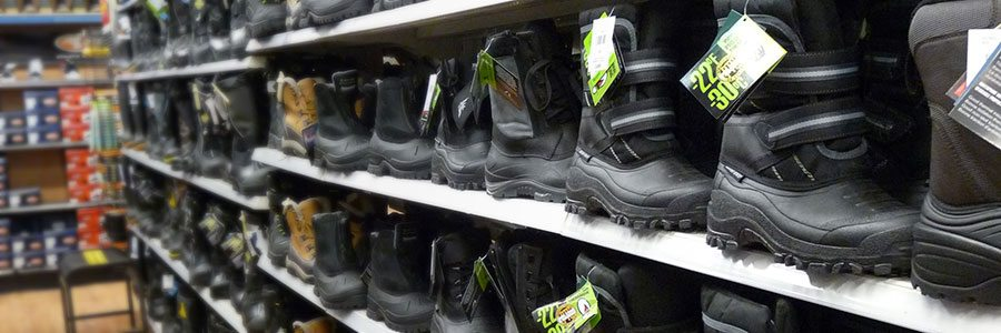 Heavy duty winter boots for sale at the Walmart, Thompson, Manitoba.