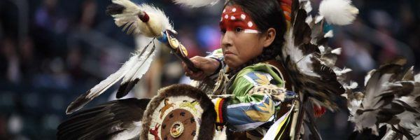 Traditional dancer at Manito Ahbee