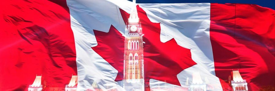 Canadian flag with the silhouette of the Parliament building