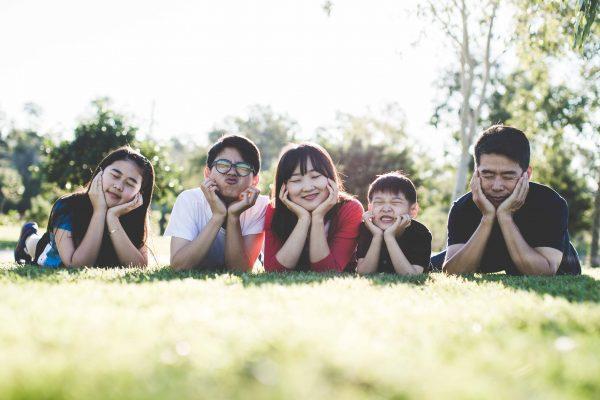 family of five enjoying the sun