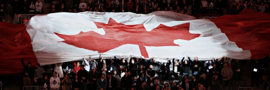 Canadian flag held up by the crowd