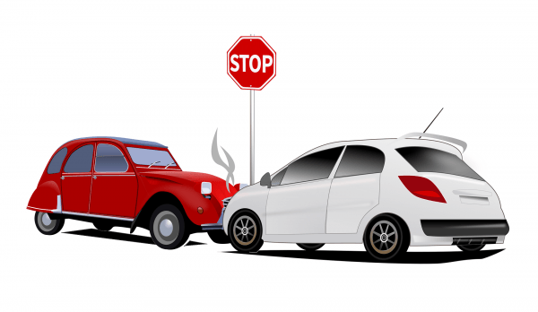 graphic of car collision at a stop