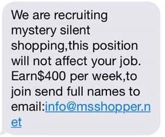Scam text for mystery shopper