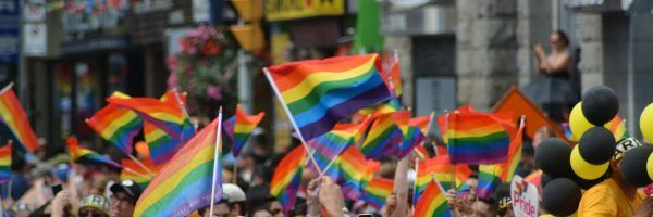 Rainbow flags at a Pride parade