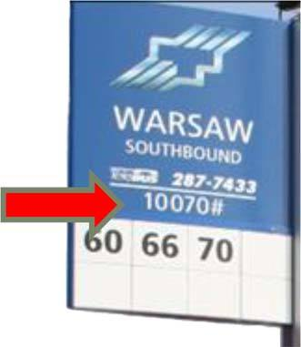 Bus stop sign with arrow pointing to 5-digit bus stop number