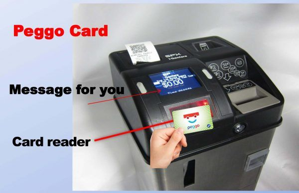 hand with Peggo card near a fare box