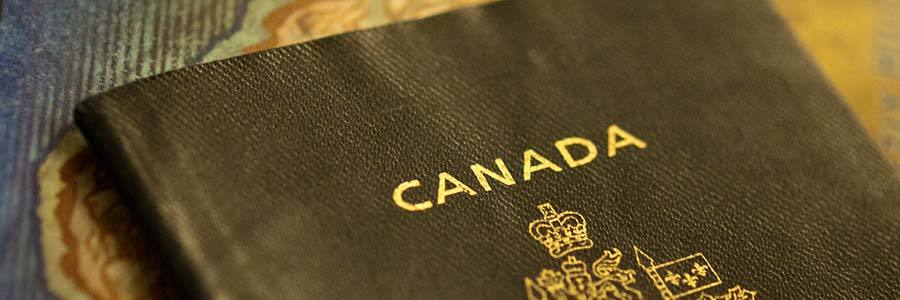 Upper portion of a Canadian passport