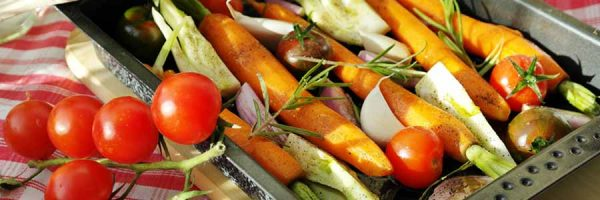 Carrots, tomatoes and other vegetables ready for barbecue