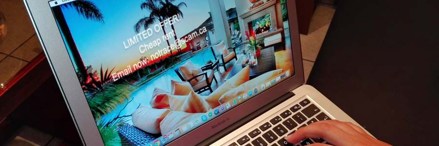 ad of luxury home on laptop screen offering cheap rates