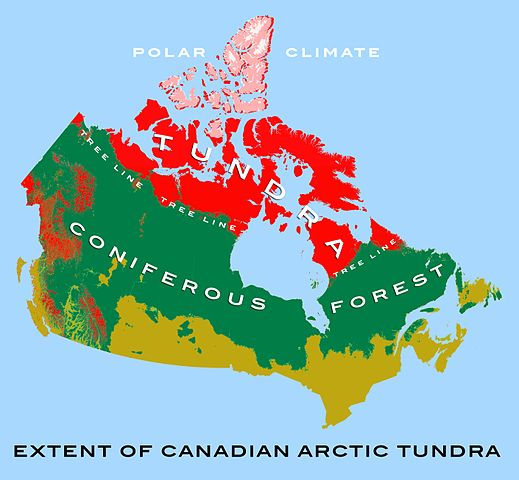 Map of Canada showing the extent of the tundra