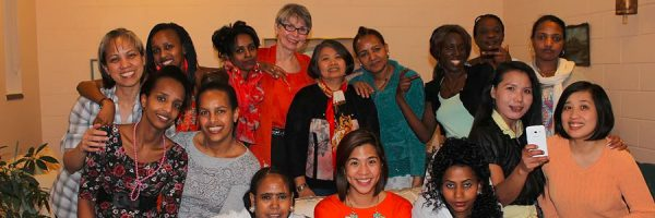Sister Lesley with neighbours at House of Peace