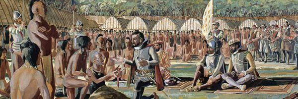Illustration of Jacques Cartier meeting with Indigenous Peoples in 1535