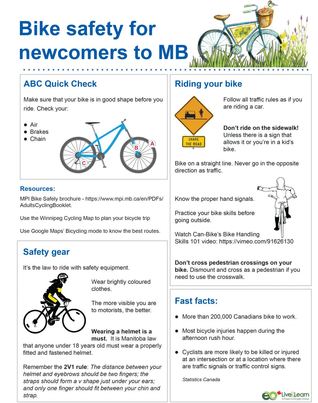 Bike safety for newcomers poster