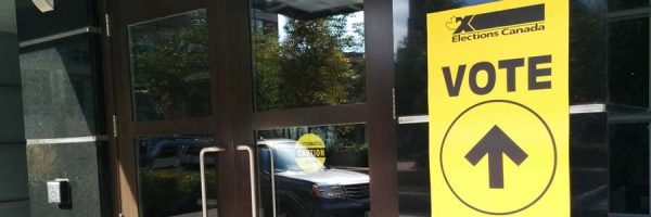 door to an Elections Canada polling station