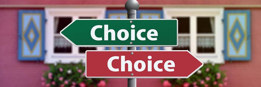 "directional signs saying ""Choice"""