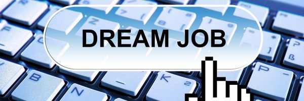"illustration of computer keyboard with text ""dream job"" superimposed"