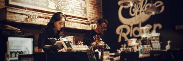 barista and cashier at a coffee shop