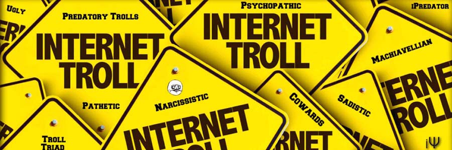 "yellow signs with 'internet troll"" written on them"