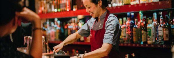 Bartender working behind the bar